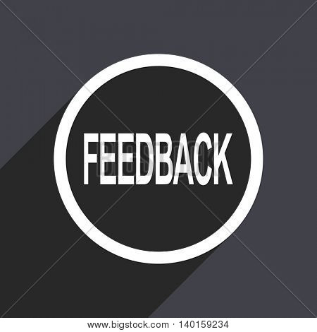 Flat design gray feedback vector icon