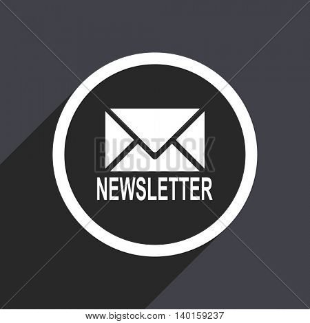 Flat design gray newsletter vector icon