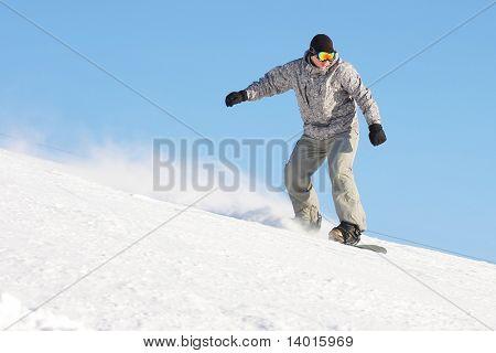 Snowboard sportsmen in motion over clear blue sky