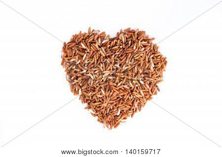 Heap of red rice isolated on white background