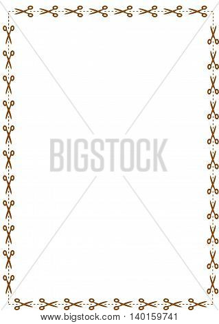 Border with scissors - vector illustration. Set of coupon border