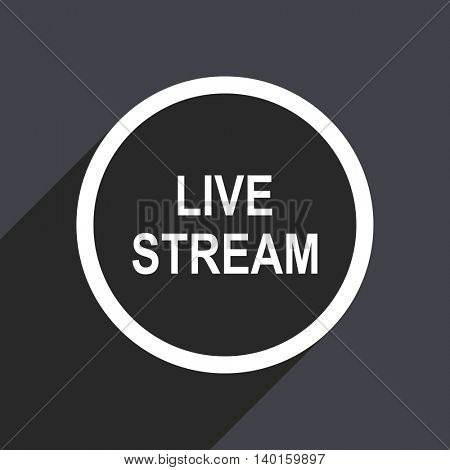 Flat design gray web live stream vector icon