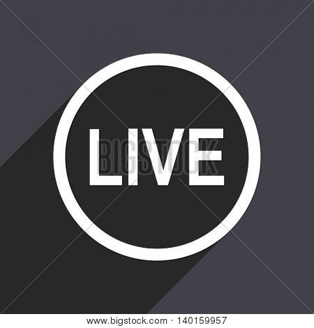 Flat design gray web live vector icon