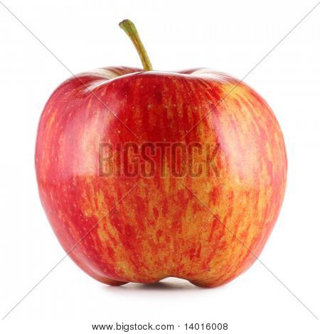 Red and apple isolated on white