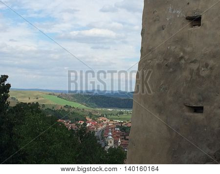 Romania, August 21, 2015, Rupea Fortress, Transylvania, Brasov County, View over the new town from a tower