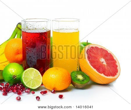 Wet ripe fruits with juice glasses on white background
