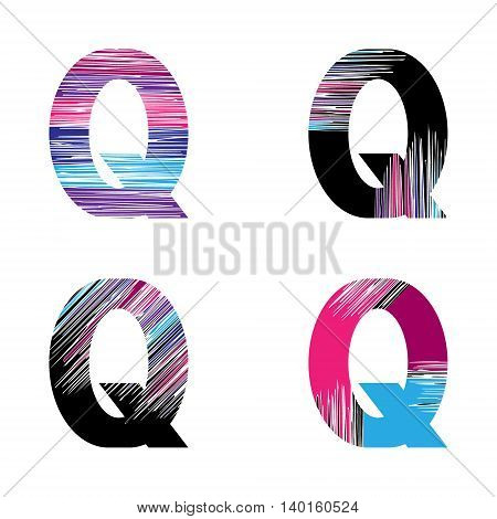 Letter Q set. Vector graphic alphabet symbol in grunge style. Design template elements.