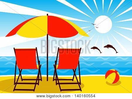 vector deck chairs under umbrella on the beach and fishes jumping over the sea