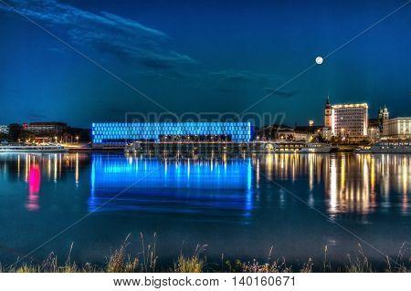Lentos Art Museum in Linz by night, Austria