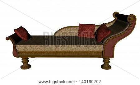 Meridienne, vintage sofa or bed isolated in white background - 3D render