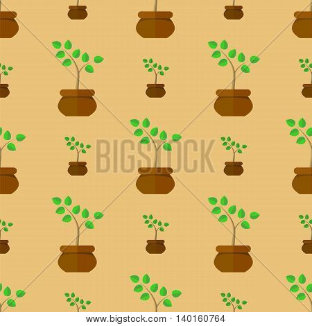 Flower Pot Seamless Pattern. Floral Natural Background