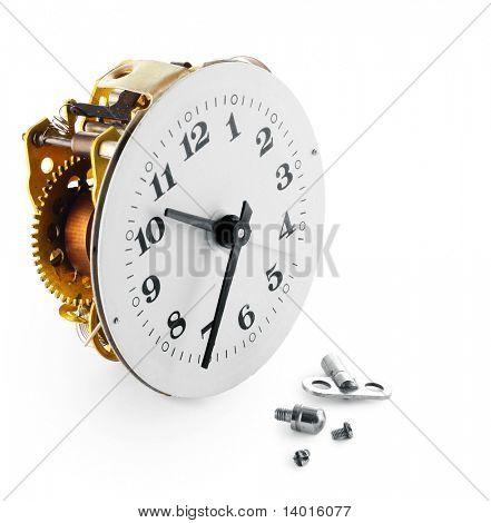 Broken retro clock with screws