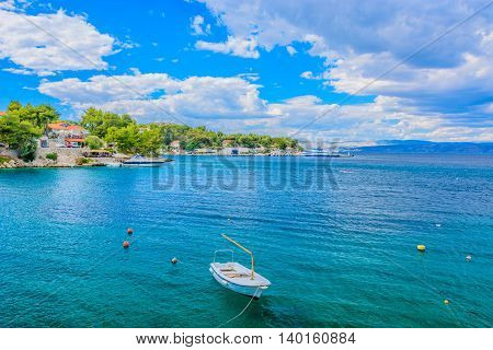 Seascape waterfront view at Island of Solta, Rogac mediterranean town in summertime.