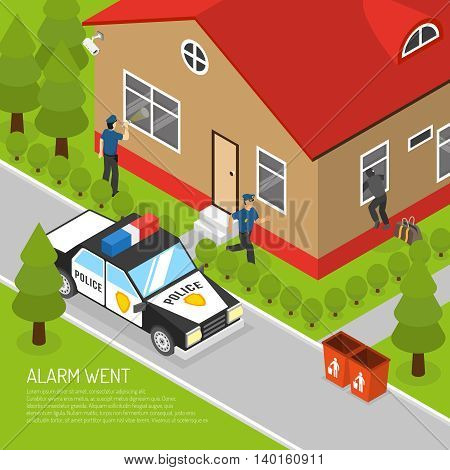 Action security system burglar alarm response isometric placard with running police officer approaching thief abstract vector llustration