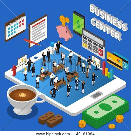 Financial business center isometric composition poster with market participants and dollar exchange rate diagrams abstract vector illustration