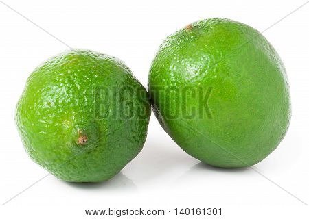 two lime isolated on white background close up.
