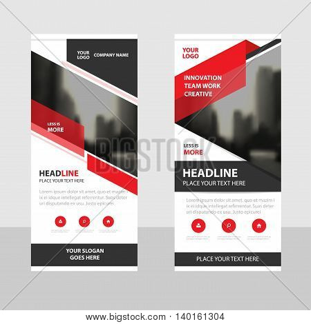 Red black triangle Business Roll Up Banner flat design template Abstract Geometric banner template Vector illustration set abstract presentation brochure flyer template vertical template vector