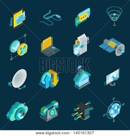 Telecommunication isometric icons set with satellite dish  data hub optical fiber receiver isolated elements vector illustration