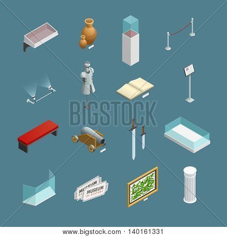 Isometric icons set of museum exhibits and elements like ancient vase or informational plate isolated vector illustration