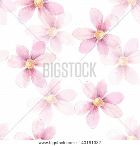 Delicate floral background. Seamless pattern 3. Watercolor