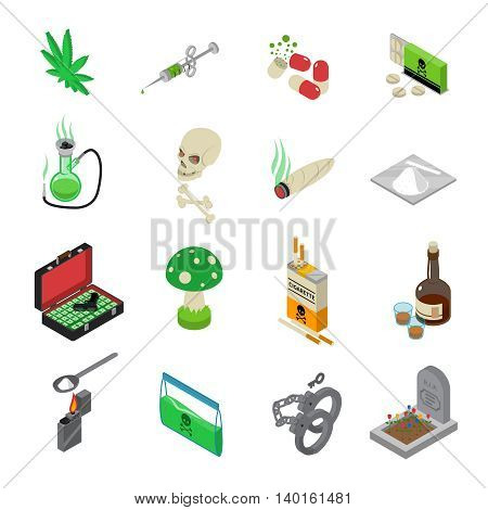 Drugs icons set with drugs alcohol and tobacco symbols isometric isolated vector illustration