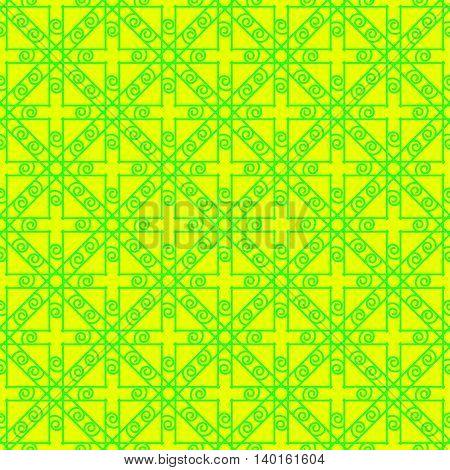 Bright green and yellow geometric seamless pattern.