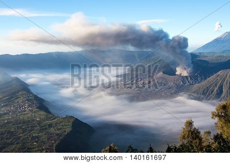 Breath of bromo with the sea of mist