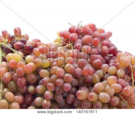 Pink Grapes isolated on white background autumn sweet raw fruit