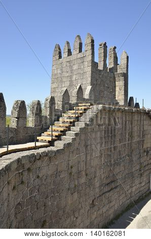 GUIMARAES, PORTUGAL - AUGUST 9, 2015: Stairs to one of the towers on the inner of the Castle of Guimaraes in the northern region of Portugal.