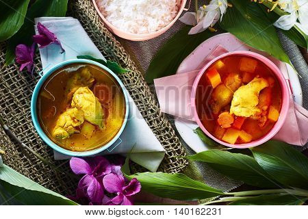 Chicken mussaman curry,Thai food,shallow Depth of Field,Focus on chicken.