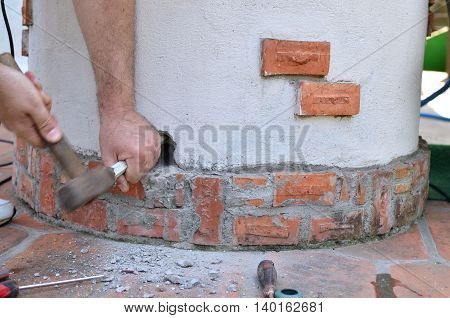 Making A Hole With Chisel