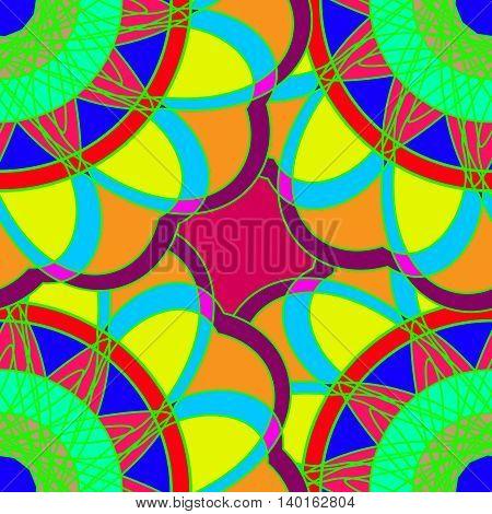Geometric multicolor fractal mandala seamless pattern for background.