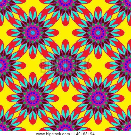 Geometric seamless pattern with fractal flower in red blue and violet colors on yellow background.