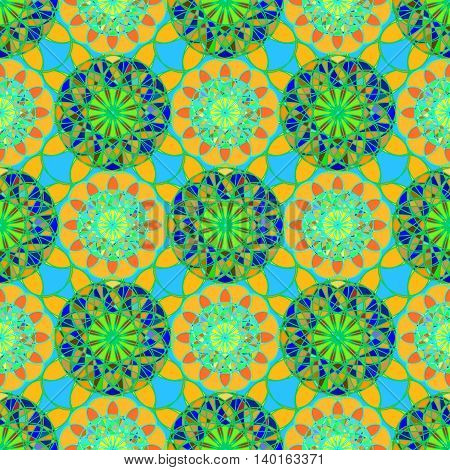 Abstract mandala seamless pattern in green and orange colors.