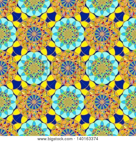 Amazing fractal diamond on a background of blue-orange leaves seamless pattern.
