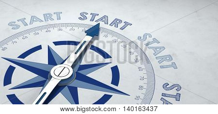 3d render of compass pointer surrounded by start text for concept about getting started properly for business and goals. Includes additional copy space.