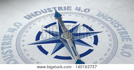 3d render of compass pointing to the German phrase industrie 4.0, for concept about working in the industrial sector