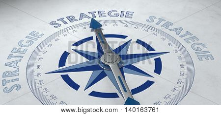 3d render concept about strategie (strategy) with German compass pointed at the word strategie as symbol for planning and campaigns