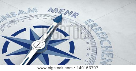 3d render of compass focused on the German word mehr, for concept about more and greater things. Includes copy space.