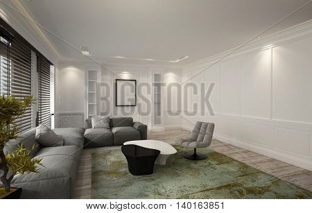 Snug illuminated luxury living room or den interior with a comfortable modular settee corner unit, recliner chair and green carpet lit by down lights and windows covered with blinds, 3d rendering