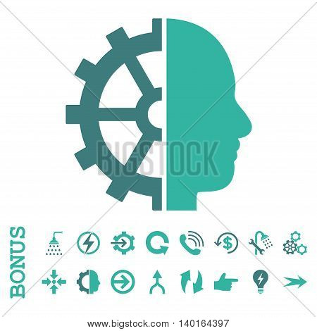 Cyborg Gear vector bicolor icon. Image style is a flat pictogram symbol, cobalt and cyan colors, white background.