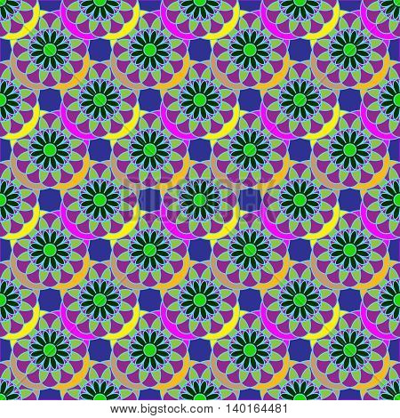 Geometric seamless pattern with fractal flower in orange and violet colors on deep blue background.