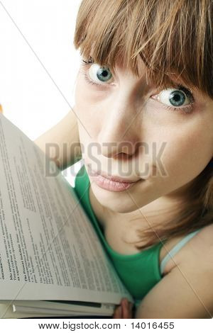 Young woman with papers and discouraged face
