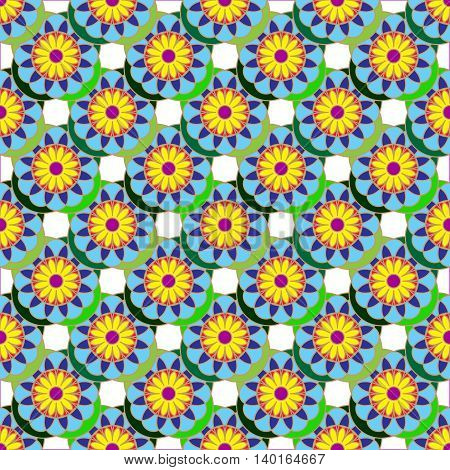 Geometric seamless pattern with fractal flower in yellow, green and blue colors on white background.