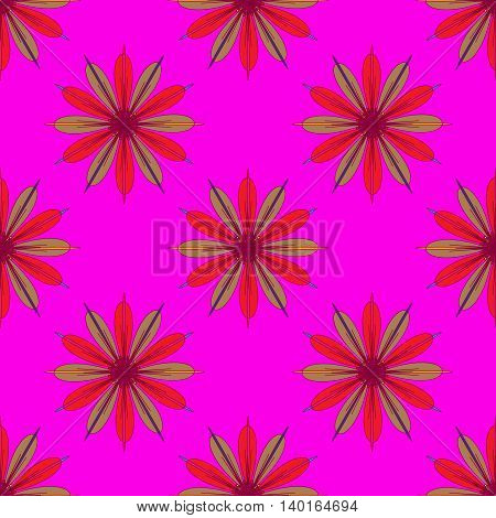 Fractal flower seamless pattern on pink background.