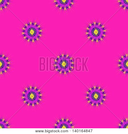 Abstract seamless pattern with bright multibeam fractal mandala on a pink background