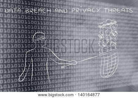 masked man stealing files falling off a cloud with lock & chain concept of data theft and unauthorized access