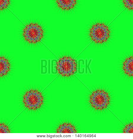 Abstract seamless pattern with bright multibeam fractal mandala on a light green background