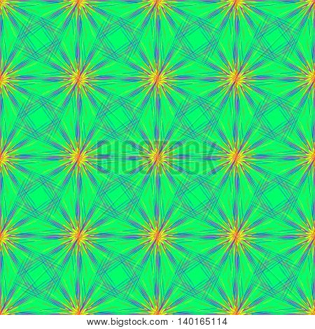 Abstract seamless pattern with multibeam furry fractal star on a turquoise cyan background.