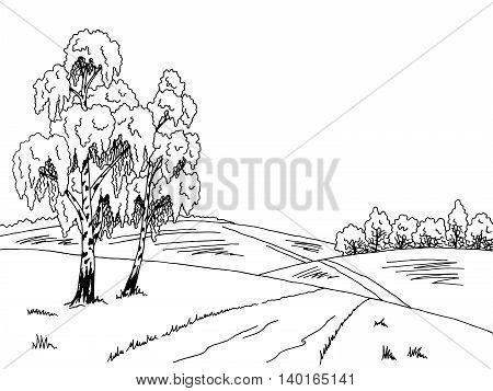 Birch tree road graphic art black white landscape illustration vector